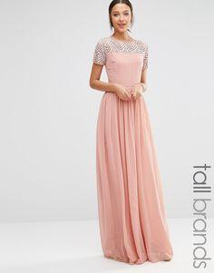 Image 1 ofMaya Tall Pleated Maxi Dress With Pearl Embellishment