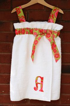 Bath towel tutorial... So cute!.... I love the infinity dress on her site, looks like a great tutorial :) excuse me while I get 5 yards of fabric-T