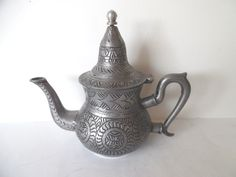 VINTAGE Ornate & Unique Pewter Teapot and/or Coffeepot - Bottom Marked - GC