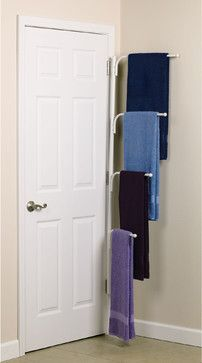 The Clutterbuster™ Family Towel Bar. Could also be used behind the door in the small first-floor laundry rooms many new homes have right off the garage.