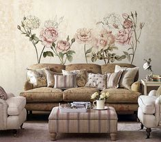 """Rose Garden Wallpaper Poetry Flowers Wall Decal Art Bedroom Living Room Retro Apricot Light Blue Wall Mural Pink Home Decor 55.5"""" x 35"""""""
