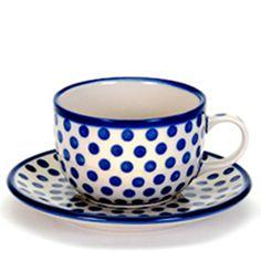 Teacup and Saucer, Polish Pottery