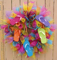 flip flop wreaths | Summer Flip Flop Deco Mesh Wreath by SouthernAccentsEtc on Etsy Deco Mesh Wreaths, Wreath Ideas, Flip Flops, Flip Flop Sandals, Mesh Wreaths