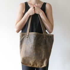 Distressed leather bag. $220