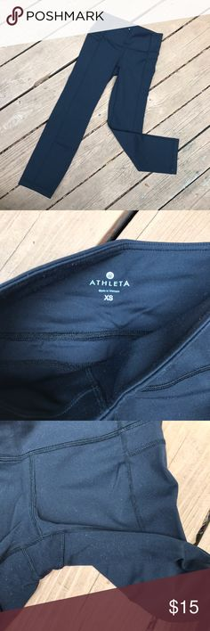 Athleta Straight Up Capri Leggings Black capri leggings, that I found work great as pants if you're petite!  Only a little bit of pilling/we between the legs as pictured. I accept offers! Athleta Pants Leggings