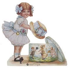 Vintage Victorian Postcards   Home » Victorian Girl with Easter Bonnet Moving Card