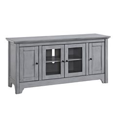 Walker Edison Transitional Wood Glass TV Stand- Antique Grey at Lowe's. Built to support TVs up to 55 inches, this console is the perfect solution for your home entertainment. This entertainment center and TV stand features Tv Stand With Glass Doors, Glass Tv Stand, Two Panel Doors, Tv Media Stands, Tv Stands, Tv Stand With Storage, Tv Stand Console, Flat Panel Tv, Glass Cabinet Doors