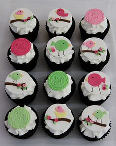 Birdie Baby Shower Cupcakes - pipe the big birds onto flat topped icing instead of fondant? Baby Girl Cupcakes, Love Cupcakes, Baby Shower Cupcakes, Yummy Cupcakes, Shower Cakes, Cupcake Day, Cupcake Cakes, Fondant Cupcakes, Fondant Wedding Cakes