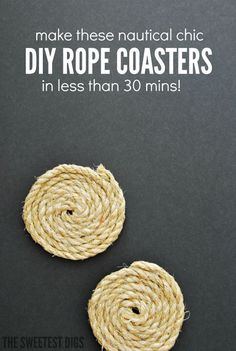 These DIY nautical rope coasters are chic and super easy to make. A short project that make a great handmade gift idea. All you need is rope and hot glue! Click over for the full tutorial.