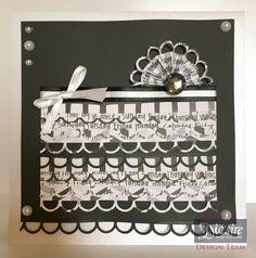 Mel Jess Gemini - Create-a-Card - 8x8 Black and White Card - Die'sire Classiques: Scallop Loop Edge - Centura Pearl Hint of Silver - Matt Black Card - Gems and Pearls - Ribbon - Collall Tacky Glue - Collall 3D Glue Gel - 3D Foam Pads - #crafterscompanion #ccgemini
