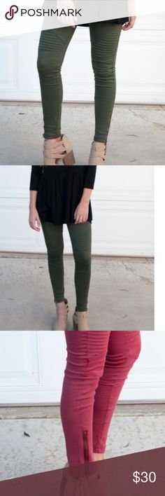 NWOT Moto Leggings New and Never worn. Stylish, stretchy and comfy!  These go with any outfit.  This listing is for the olive green, the red pair in the pictures is just to show the side zipper detail. Inseam approx 26 inches.  Pants are a M which fits size 4-6. Pull on design with a mid rise fit. Pants Leggings