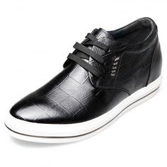 2.6inch / 6.5cm Fashion lace up height lift casual skate shoes Black
