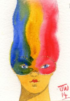 Red, yellow, blue mask.  Watercolours.