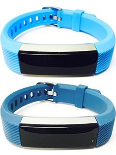 BSI Set 1 Light Blue 1 Slate Classic Accessory Bands For Fitbit Alta Activity Tracker Adjustable Silicone Design Straps With Metal Buckle Clasp. For Fitbit Alta ONLY. Tracker not included. Replacement fitness wristbands that match the quality of the original but with better belt buckle type fastening for more secure and comfortable fitment on your wrist. Wear it during exercise or casual social events to complement your fashion style, look and mood. Weighs only around 1 oz (28 grams) with...