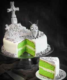 halloween party torte friedhof hund grünes teig