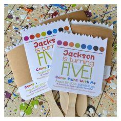 paint party invitations paintbrush http://www.jacksandkate.com/paint-brush-invitation-tutorial/#