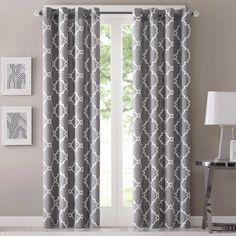 Fretwork 95-Inch Window Curtain Panel in Grey