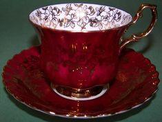 Royal Albert Spectacular Red Gold Tea Cup and Saucer. Tea Cup Set, My Cup Of Tea, Tea Cup Saucer, Royal Albert, China Tea Sets, Teapots And Cups, Chocolate Pots, High Tea, Afternoon Tea