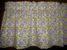 Valance Purple Lavendar Yellow Flowers fabric curtain topper #Handmade #Country