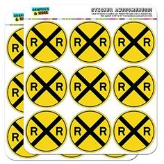 """Railroad Crossing Traffic Sign Train 2"""" Scrapbooking Crafting Stickers for drinking cups?"""
