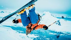 Extreme skiing in Antarctica: Author Ben Shook does a front flip off a glacier. [Photo by by Gabe Rogel]