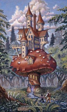 Painted by Randal Spangler, the The Mushroom Inn wall mural from Murals Your Way will add a distinctive touch to any room. Fantasy World, Fantasy Art, Art Fantaisiste, Murals Your Way, Mushroom Art, Mushroom House, Earth Design, Fairytale Art, Fantasy Landscape