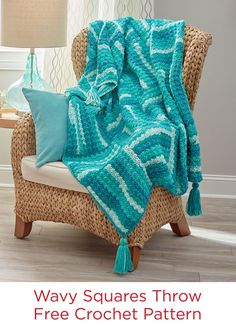 Wavy Squares Throw Free Crochet Pattern in Red Heart With Love Stripes yarn -- This throw is crocheted just one square at a time, so it's perfect for a take along project on trips or when socializing as you crochet. You'll love how this yarn makes its own stripes, without changing to a new skein.