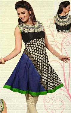 Picture of Magnificent Beige, Black and Navy Blue Indian Designer Tunics