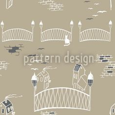 Kitten Bridge Beige created by Martina Stadler offered as a vector file on patterndesigns.com