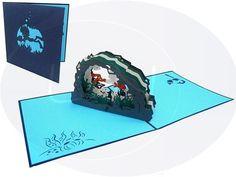 Aufklappbare POP UP Geburtstagskarte eines Höhlentauchers. Mehr entdecken auf: www.lin-popupkarten.de