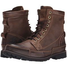 Timberland Earthkeepers Rugged Original Leather 6 Boot (Dark Brown)... ($150) ❤ liked on Polyvore featuring men's fashion, men's shoes, men's boots, timberland mens shoes, mens lace up boots, mens dark brown chelsea boots, mens shoes and mens boots #ad