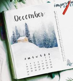 27 Magical Winter Wonderland Bullet Journal Layout Inspiration Even I must admit the beauty of winter, it's gorgeous. The magic of a winter wonderland is exactly what these bullet journal layouts inspire, here they are! Bullet Journal With Calendar, Bullet Journal Spreads, Bullet Journal Christmas, December Bullet Journal, Bullet Journal Cover Ideas, Bullet Journal Quotes, Bullet Journal Cover Page, Bullet Journal 2020, Bullet Journal Notebook