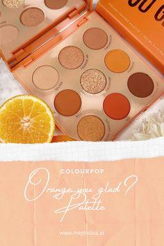 "Review & Swatches der ""Orange you glad?"" Palette von Colourpop - eine monochrome Lidschattenpalette mit 9 Orangetönen. #beauty #lidschatten #orange #beautyblogger Orange You Glad, Monochrom, Carrot, Lemon, Eyeshadow, Beauty, Food, Sensitive Skin, Carrots"