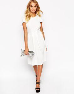 33Love Textured Midi Dress with Pleat Detail