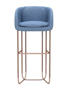 Utah Bar Stool - Mid-Century / Modern Metal, Upholstery / Fabric Stool by Divya & Victoria Group