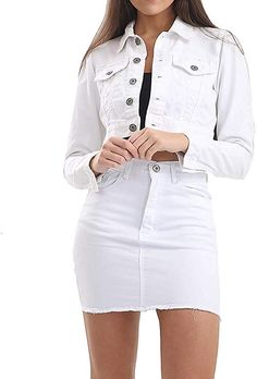Jeans Crop Jacket   Crop top jeans jacket   crop top jeans jacket outfit   crop top outfits with jeans and jacket Jean Jacket Outfits, Crop Top Outfits, Casual Outfits, Jean Top, T Shirts For Women, Clothes For Women, Cropped Jeans, Women's Fashion Dresses, Mini Skirts