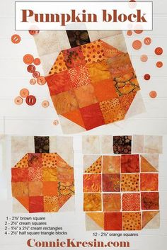 DIY quilt project using a fast and easy pumpkin quilt block to make a quilted tablerunner for Halloween or Autumn decorating. Halloween Quilt Patterns, Halloween Quilts, Halloween Sewing Projects, Quilting Tutorials, Quilting Projects, Diy Quilting, Sewing Tutorials, Quilting Ideas, Sewing Hacks