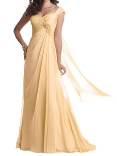 yellow chiffon cap sleeve sweetheart floor length a-line long mother of the bride dress