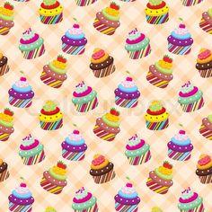 Seamless cupcake pattern   Vector   Colourbox on Colourbox