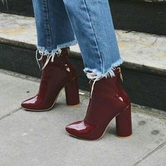 Burgundy patent booties.