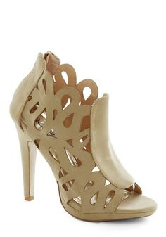 Swirls and Twirls Heel - Tan, Solid, Cutout, Statement, High, Peep Toe, Wedding, Party, Girls Night Out, Urban