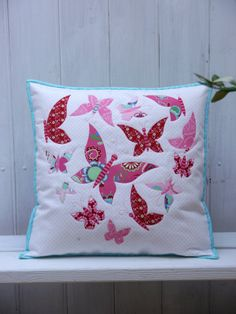Sweet mariposa applique cushion PDf pattern by claireturpindesign