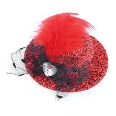 uxcell Faceted Rhinestone Red Black Top Hat Fascinator Prong Alligator Hair Clip ** Check out this great product.(This is an Amazon affiliate link and I receive a commission for the sales)