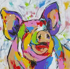 Painting By Numbers DIY Dropshipping Happy colorful fat pig Animal Canvas Wedding Decoration Art picture Gift Tableau Pop Art, Pig Art, Picture Gifts, Chicken Art, Guache, Colorful Animals, Arte Pop, Animal Paintings, Painting Inspiration