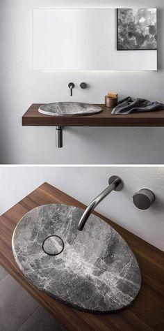 28 Ideas For Bath Room Furniture Modern Sink Design Unique Bathroom Sinks, Bathroom Sink Vanity, Bathroom Layout, Modern Bathroom Design, Bathroom Interior Design, Amazing Bathrooms, Wood Vanity, Bathroom Pink, Bathroom Ideas