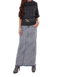 "Skirt details: * floor length 37.5"" * regular straight fit * stretch brushed denim * five pockets pencil style & back slit 20.5"" * fringed hem at the bottom skirt * 98% cotton, 2% spandex * Christmas"