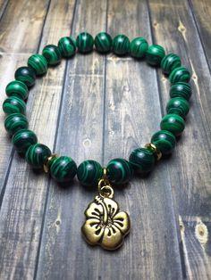 Malachite Flower Charm Bracelet
