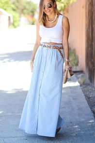 Laid back looks like you in a floppy hat, and the Baez Blue Chambray Maxi Skirt! This lightweight woven skirt has light-washed cotton chambray constructing an A-line maxi with belt loops, and silver snaps that button through the front. Rounded front pockets offer that carefree, hands-in-pockets look for the Boho girl in you! As Seen On Olia of Love, Olia blog, Olivia of @oliviafrischer and Elizabeth of A Keene Sense Of Style blog!