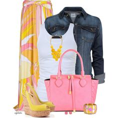 Emilio Pucci Maxi and Denim Jacket, created by angkclaxton on Polyvore