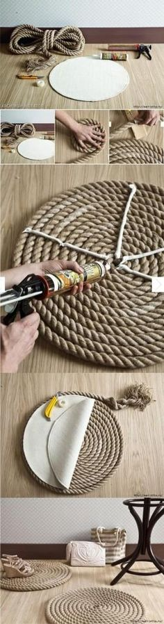 Aprende cómo darle un toque rústico a tu sala haciendo una alfombra hecha con cordón #DIY #DIYBeco
